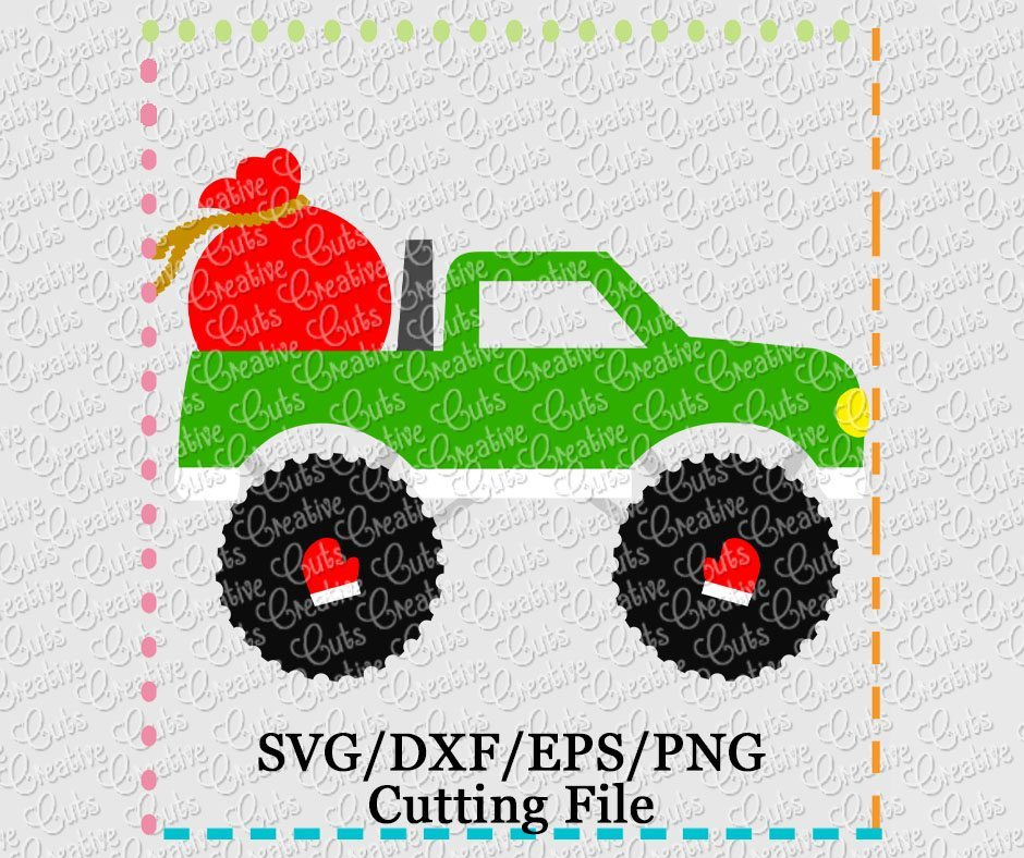 Santa S Bag Truck Cutting File Svg Dxf Eps Creative Appliques