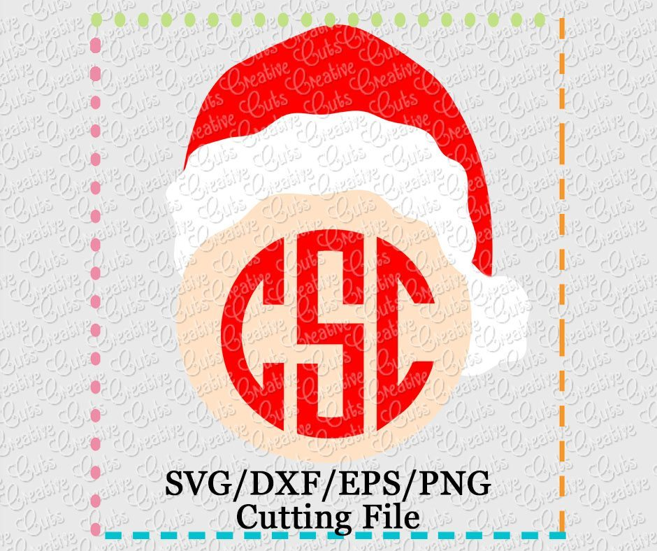 ea5f4b831f942 Santa Hat Monogram Cutting File SVG DXF EPS - Creative Appliques