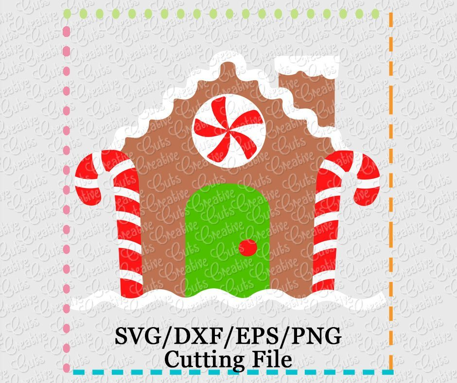 Gingerbread House Cutting File Svg Dxf Eps Creative Appliques