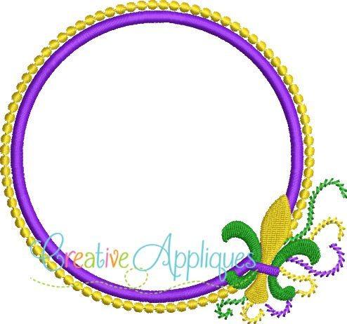 Mardi Gras Monogram Frame Applique - Creative Appliques