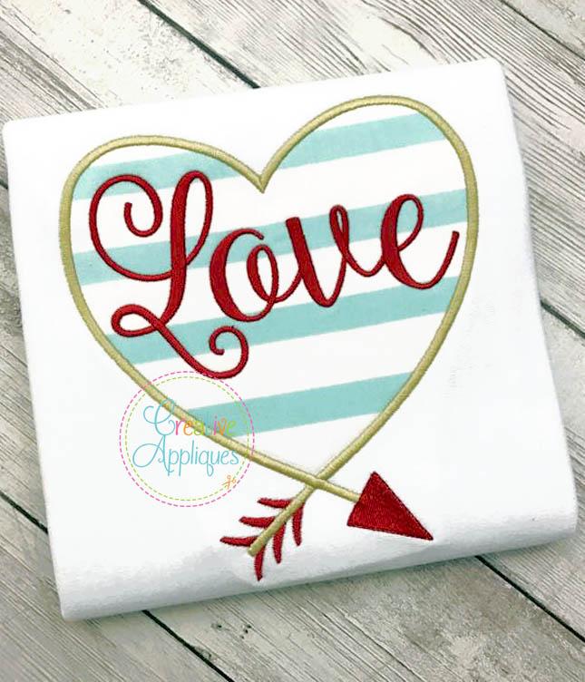 Love Heart Arrow Applique Creative Appliques