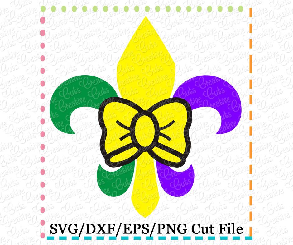 Fleur De Lis Bow Cutting File Svg Dxf Eps Creative Appliques