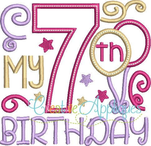 7th birthday My 7th Birthday Girl Applique   Creative Appliques 7th birthday