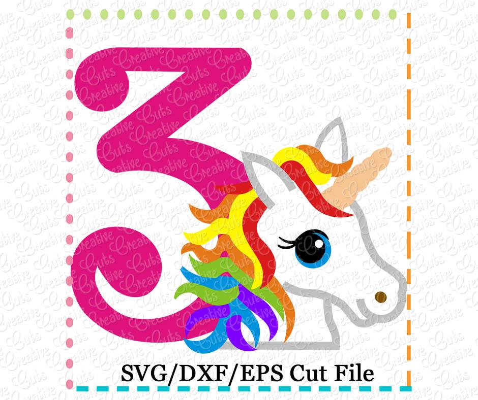 Rainbow Unicorn Birthday 3 Cutting File Svg Dxf Eps Creative Appliques