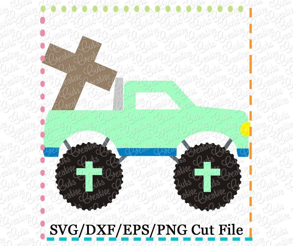 cross monster truck cutting file svg dxf eps