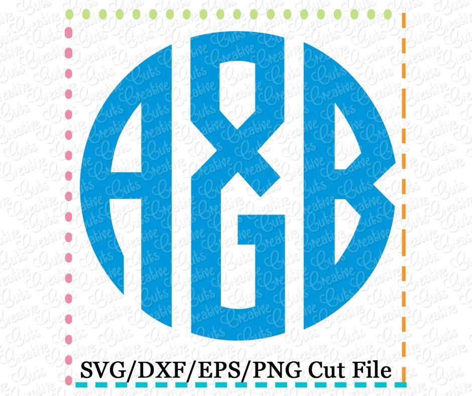 3 letter natural circle monogram font cutting file svg dxf eps