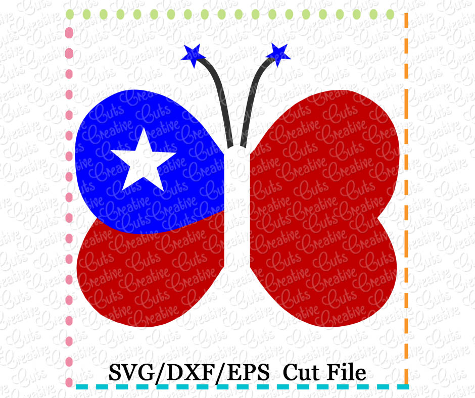 patriotic butterfly cutting file svg dxf eps creative appliques