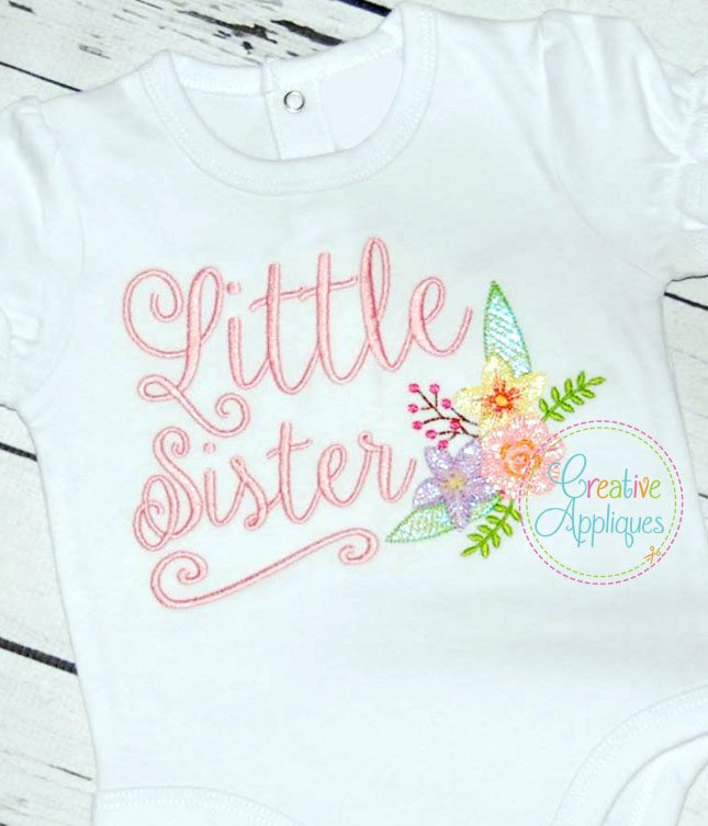 Sister Sibling Set Embroidery Creative Appliques