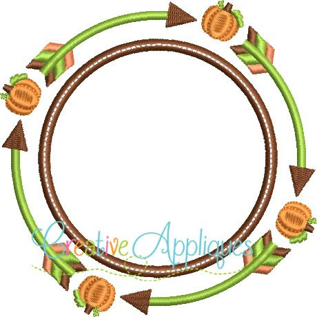 Tribal Pumpkin Monogram Embroidery Frame Creative Appliques