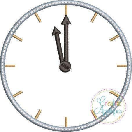 New Year Clock 4x4 Applique - Creative Appliques
