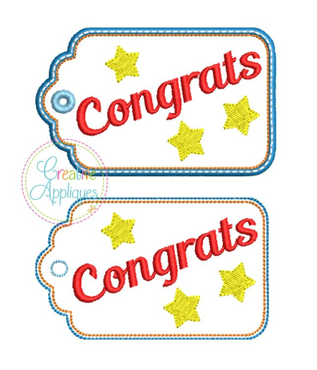 congrats gift tag in the hoop creative appliques