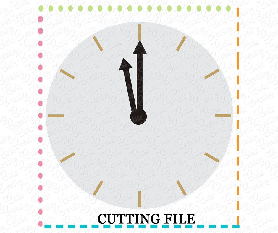 New Years Clock Cutting File SVG DXF EPS - Creative Appliques