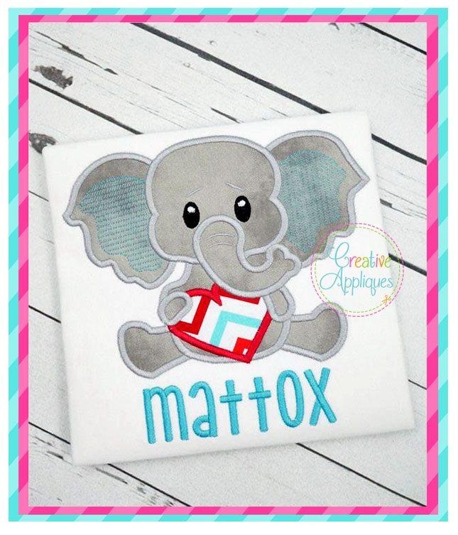 Valentine Boy Elephant Applique Creative Appliques