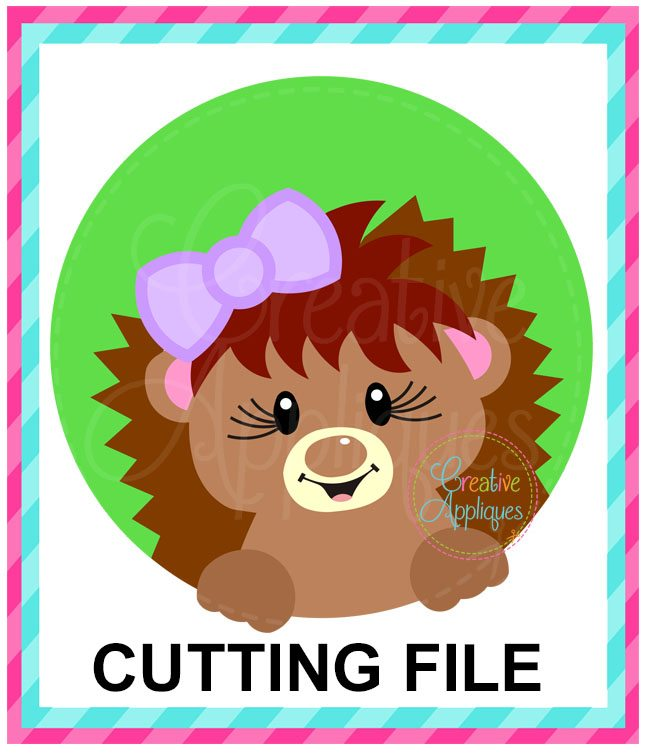 Hedgehog Girl Circle Cutting File Svg Dxf Eps Creative Appliques