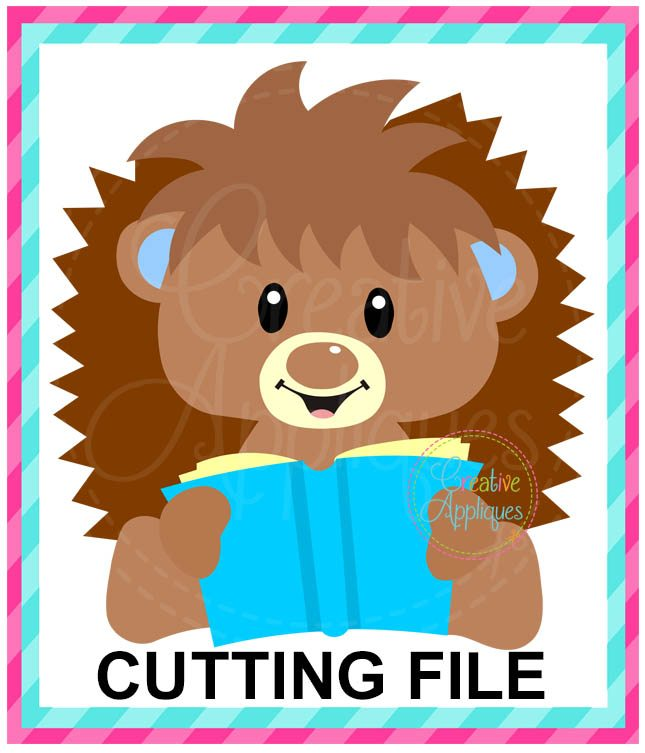 Reading Hedgehog Cutting File Svg Dxf Eps Creative Appliques