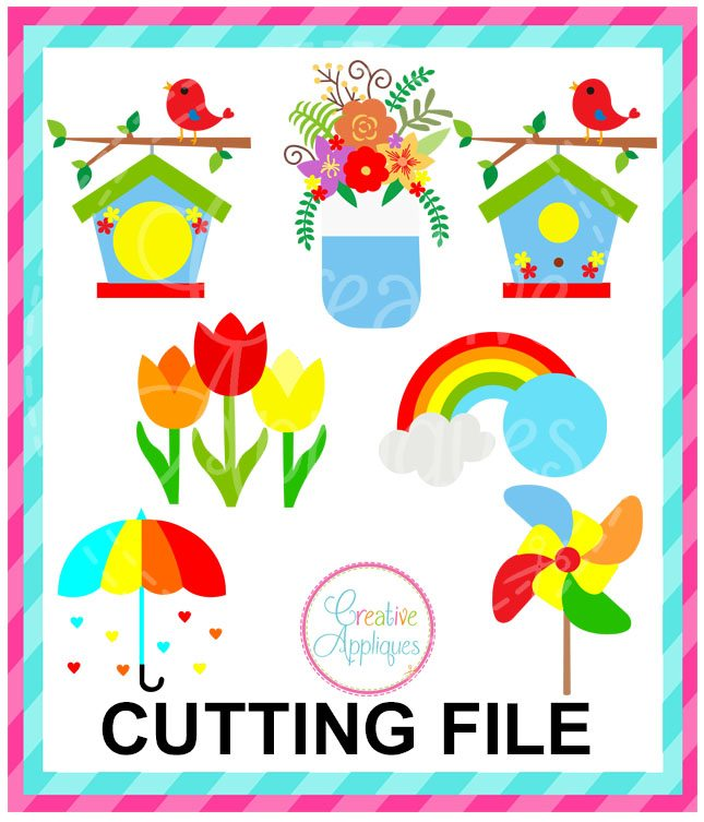 Spring Bundle Cutting File Svg Dxf Eps Creative Appliques