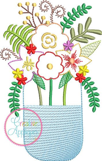 Flower Bouquet Mason Jar Applique