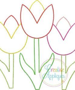 Tulip Trio Vintage Stitch embroidery applique design