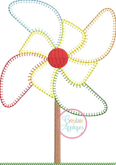 Pinwheel vintage stitch embroidery applique design
