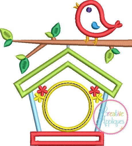 monogram birdhouse embroidery applique design