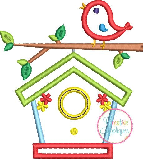 birdhouse embroidery applique design