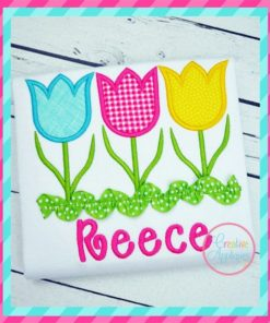 three tulip trio embroidery applique design