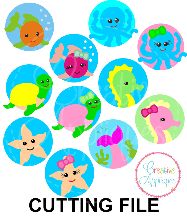 Sea Animal Circle Set 1 Cutting File Svg Dxf Eps Creative Appliques