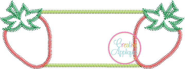 Zigzag Stitch Strawberry Frame Applique - Creative Appliques