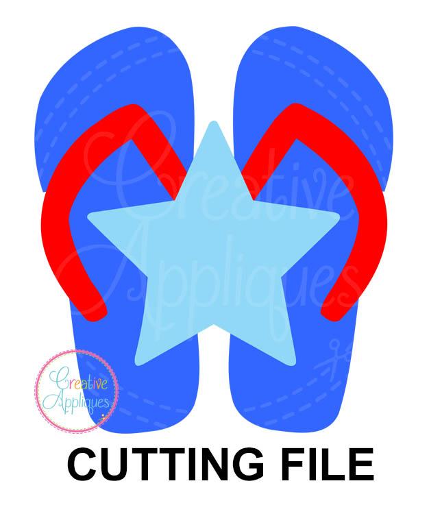 1afd2efba Patriotic Flip Flops Cutting File SVG DXF EPS - Creative Appliques