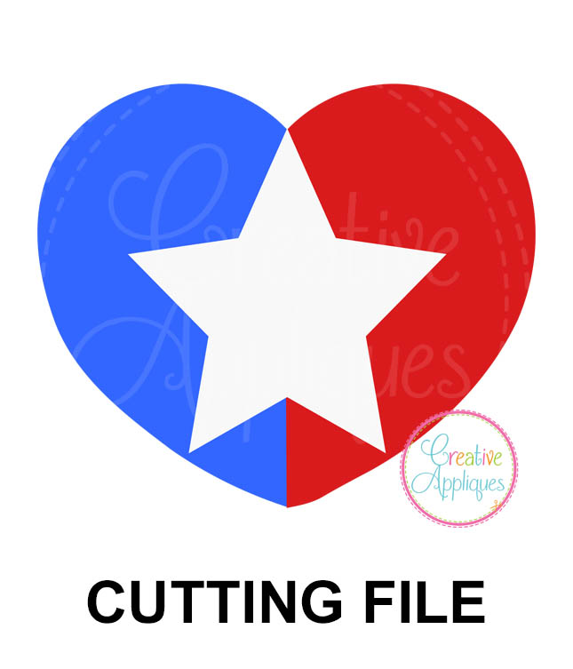 Patriotic Heart Cutting File Svg Dxf Eps Creative Appliques