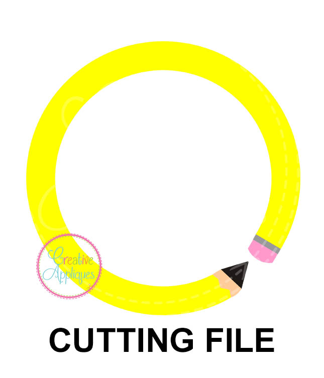 Pencil Circle Monogram Cutting File Svg Dxf Eps Creative Appliques