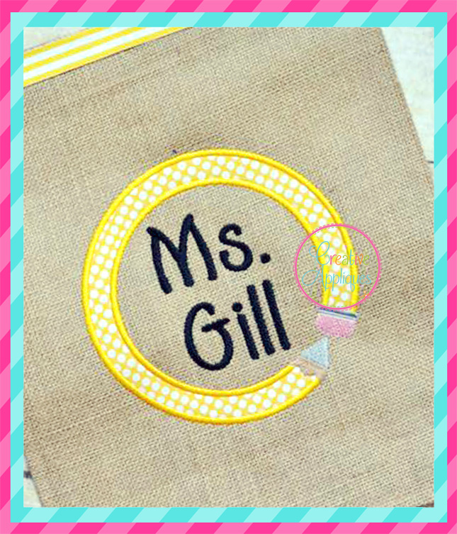 Pencil Circle Monogram Frame Embroidery - Creative Appliques