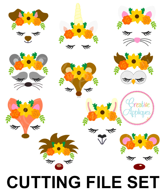 Fall Animal Floral Crowns Cutting File Svg Dxf Eps Creative Appliques