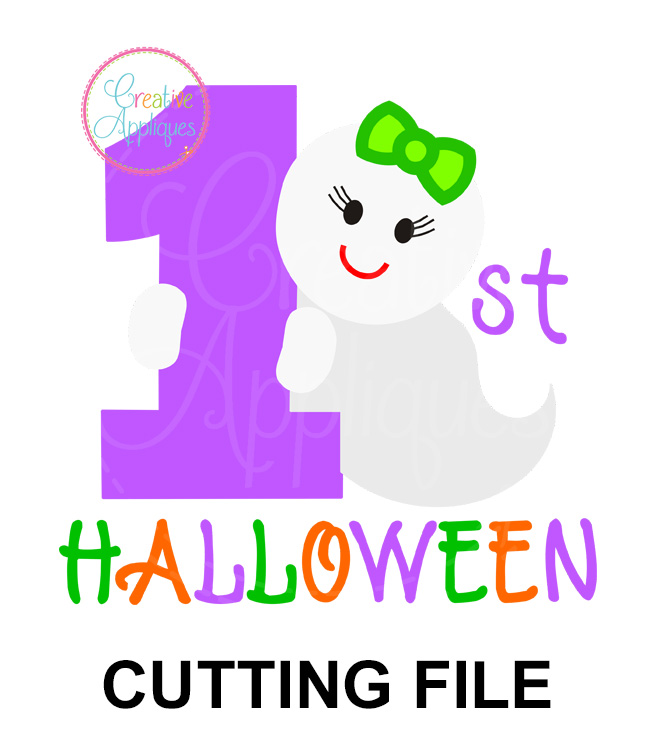 1st Halloween Girl Ghost Cutting File Svg Dxf Eps Creative Appliques