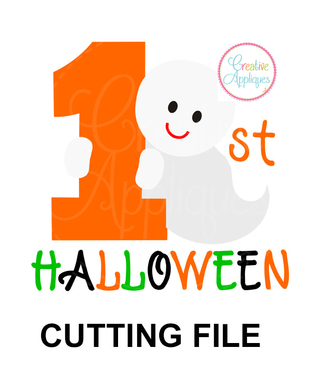 1st Halloween Ghost Cutting File Svg Dxf Eps Creative Appliques