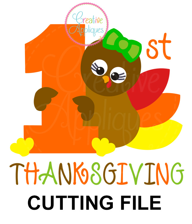 1st Thanksgiving Girl Turkey Cutting File Svg Dxf Eps Creative Appliques