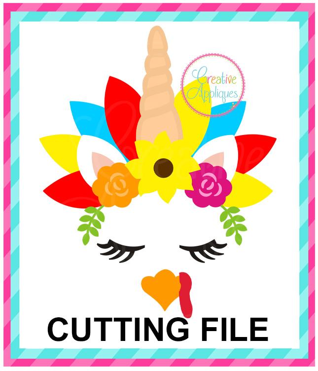 Unicorn Turkey Cutting File Svg Dxf Eps Creative Appliques