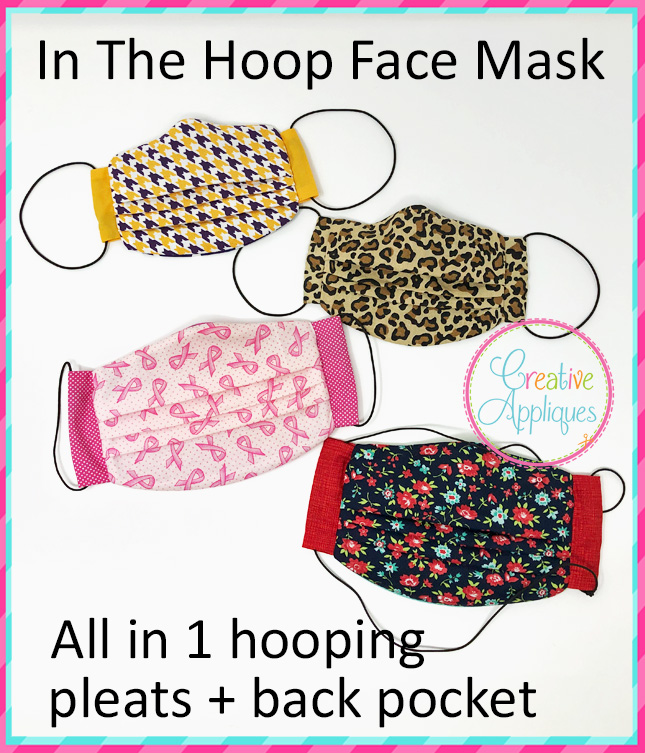 In The Hoop Face Mask Pleated Pocket Creative Appliques