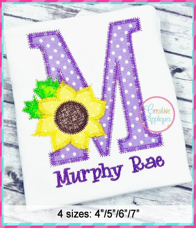Zigzag Stitch Sunflower Alphabet Applique Design ...