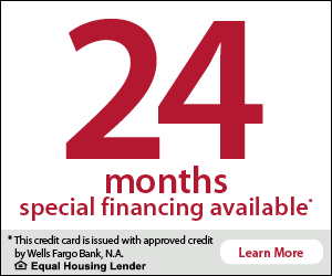 24 months special financing available. This credit card is issued with approved credit by Wells Fargo Bank, N.A. Equal Housing Lender. Learn More.
