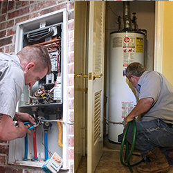 Two technicians repairing a heating system