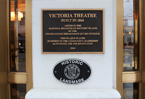Dedication plaque outside of Victoria Theatre