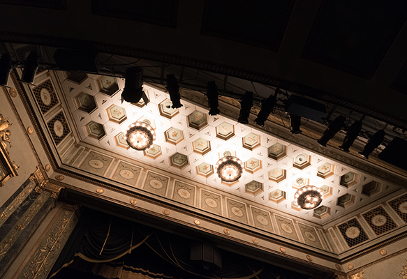 Artistic view of the ceiling in Victoria Theatre