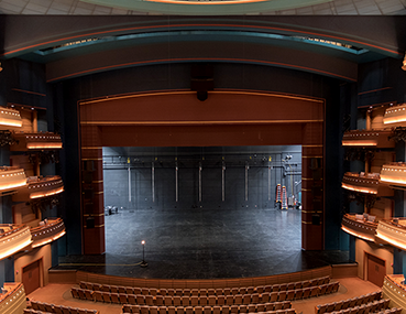 A view from the balcony looking at the stage in the Mead Theatre at the Schuster Center