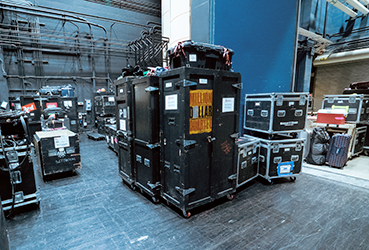 Equipment stacked backstage