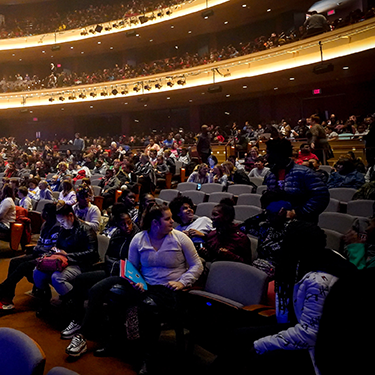 Empty seats among the audience awaiting a performance at the Schuster Center