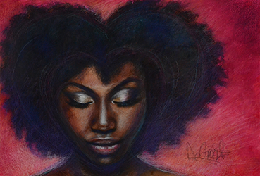 Varee is Love - painting of an African American woman's face with her eyes cast down