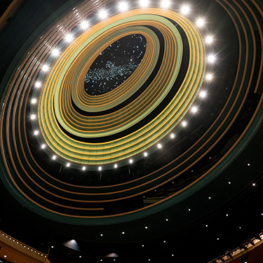 Looking up at the Schuster Center Meade Theatre ceiling.