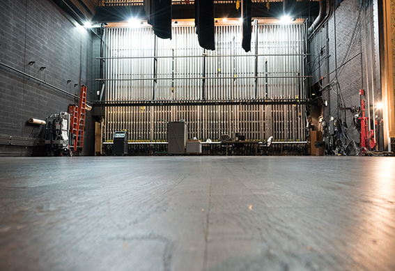 View of the backstage rigging at the Victoria Theatre