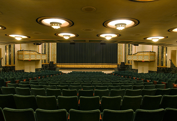 Victoria Theatre stage as seen from the center of seating area